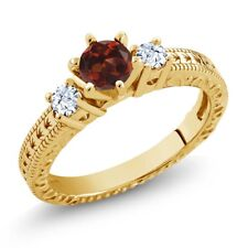 0.88 Ct Round Red Garnet White Topaz 18K Yellow Gold Plated Silver 3-Stone Ring