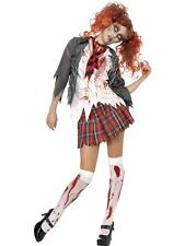 Ladies Dead Zombie Schoolgirl Halloween High School Horror Fancy Dress Costume