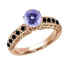 1.20 Ct Round Blue Tanzanite Black Diamond 14K Rose Gold Ring