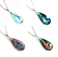"Teardrop Crystal STR Silver Adjustable Necklace 16""18"" using Swarovski Elements"