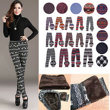 Knitted Nordic Insulated Leggings Thick Warm Winter Tights Pants Deer Snowflakes