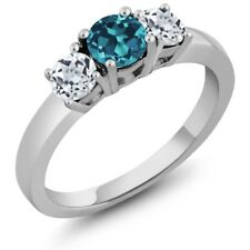 1.21 Ct Round London Blue Topaz White Topaz 14K White Gold 3-Stone Ring