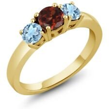 1.04 Ct Round Red Garnet Sky Blue Aquamarine 14K Yellow Gold 3-Stone Ring