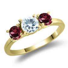1.19 Ct Round Sky Blue Aquamarine Red Rhodolite Garnet 14K Yellow Gold Ring