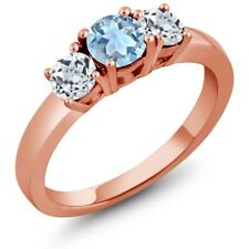 1.11 Ct Round Sky Blue Aquamarine White Topaz 925 Rose Gold Plated Silver Ring