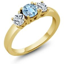 1.11 Ct Round Sky Blue Aquamarine White Topaz 925 Yellow Gold Plated Silver Ring