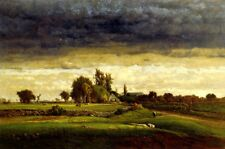 LANDSCAPE WITH FARMHOUSE 1869 PAINTING BY GEORGE INNESS COUNTRYSIDE CATTLE REPRO