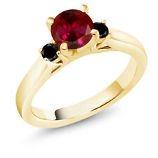 1.13 Ct Round Red Created Ruby Black Diamond 18K Yellow Gold Engagement Ring