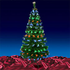 Green Artificial Open Flower Fibre Optic Indoor Christmas Xmas Tree 4ft 5ft 6ft