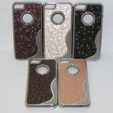 SALE FOR IPHONE 5S & 5 CHROME S LINE LEATHER SCALE EFFECT BLING HARD CASE COVER