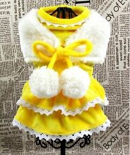 Winter Soft Design Small Girl Dog Clothes Apparel Princess Yellow Dress XS-XL