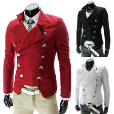 Slim Cool Top Men Double Breasted Male Army Jackets Overcoat Pea Coat XS S M L