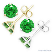 Faux Emerald Round Cut Green CZ Crystal Martini Stud Earrings in Sterling Silver
