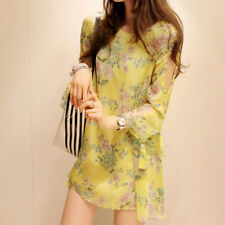 Womens Long Sleeve Bodycon Tunic Floral Cocktail Club Party Swing Mini Sun Dress
