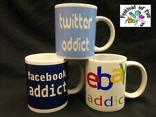 Internet Addict Mugs-4 Designs!~Facebook~Twitter~Ebay~I Love My Iphone~Mug~Cup