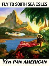 AIRPLANE PLANE FLY TO SOUTH SEA ISLES TRAVEL TRIP TOURISM VINTAGE REPRO POSTER