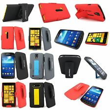 Hybrid 2pc New Hard Kickstand Holster Belt Clip Case Cover For Many Smart Phones
