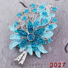 Fashion Crystal Rhinestone Tree Flower Brooch Pin Wedding Gift White Gold Plated