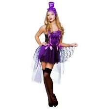 SEXY BURLESQUE BEAUTY MOULIN ROUGE LADIES FANCY DRESS COSTUME PURPLE HEN PARTY