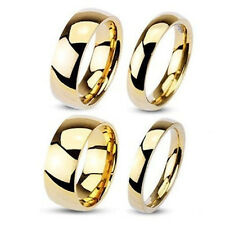 Gold Plated 316L Stainless Steel Mirror Polished Classic Wedding Band Ring