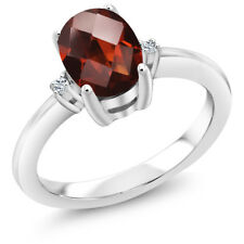 1.44 Ct Oval Checkerboard Red Garnet White Topaz 925 Sterling Silver Ring