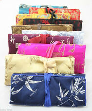 10pcs Silk Brocade Travel Roll Bag flowers Jewelry Pouch Fashion Gift New