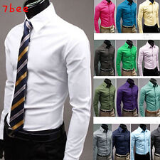 17Colours Mens Luxury Stylish Solid Casual Party Slim Fit Dress Shirts Tshirts