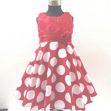 UKGR3123A Christmas Reds Party Flower Girls Dresses  SZ 2,3,4,5,6,7,8,9,10,Y