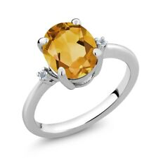 2.52 Ct Oval Yellow Citrine White Topaz 925 Sterling Silver 3-Stone Ring