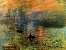 IMPRESSION SUNRISE 1872 RIVER BOAT PAINTING BY CLAUDE MONET REPRO