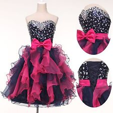 Women Floral Mini Strapless Organza Sequins Cocktail Evening Prom Party Dress