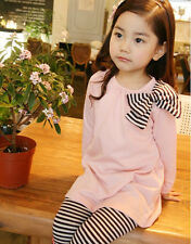 P112 Girls Pink Christmas L/S Dress + Black Stripe Legging SET SIZE 2-3-4-5-6-7Y