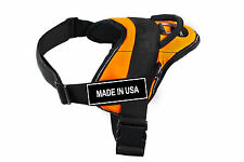 DT FUN Orange Working Dog Harness with Fun Velcro Patches MADE IN USA