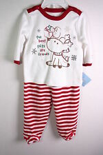 SMALL WONDERS INFANTS RED & WHITE CHRISTMAS 2 PC SET 100% COTTON 3-6 MONTHS NWT