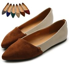 ollio Womens Ballet Bow Comfort Faux Suede Two-Tone Multi Colored Shoes Flats