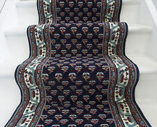 Long Traditional Navy Stair Carpet Thick Any Length Per METRE Landing Runner Rug