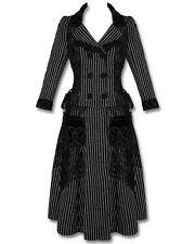 Punk Rave Pyon Pyon Sad Story Gothic Lolita EGL Long Black Pinstripe Coat Jacket