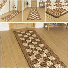 Chequer Brown - Hallway Carpet Runner Rug Mat For Hall Extra Very Long Cheap New