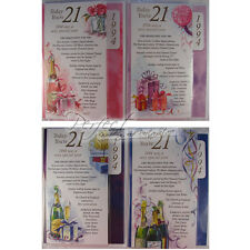Special Year Birthday Card & Envelope for 21st Male Or Female Choice Of Colour