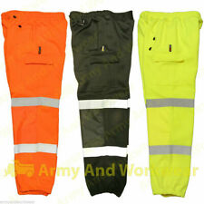 Hi Viz Combat Work Wear Jogging Bottoms Thick Brush Fleece Pro Trouser Joggers