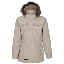 RRP: £49.99!! LADIES TRESPASS FUR HOOD QUILTED JACKET STONE TRUDEY PRDY