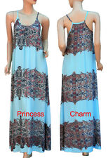 Womens Paisley Print Summer Maxi Day Dress Navy Blue Pink White Size S/M M/L New