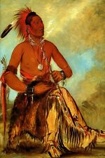 WAH RO NEE SAH CHIEF OF THE TRIBE USA AMERICAN INDIAN 1832 GEORGE CATLIN REPRO