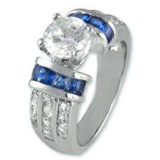 2.5 CARAT ROUND CUT SIMULATED SAPPHIRE BLUE ENGAGEMENT RING SIZE 5 6 7 8 9 10