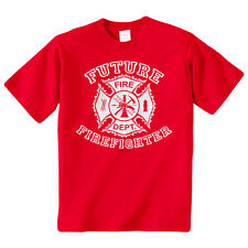 Future Firefighter Shield Kids Youth T-Shirt Tee Fireman Truck Cute Funny