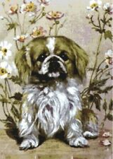 Pekingese in the Flowers ~ Counted Cross Stitch Chart ~ Dogs