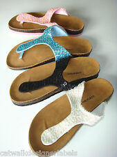 MILAFALCO SEQUIN FIT FOR THE BEACH FLIP FLOPS SANDALS SHOES UK 6 39 US8