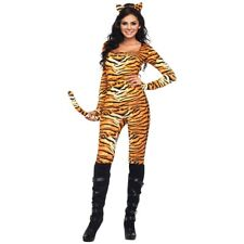 Tiger Costume Womens Adult Sexy Cat Suit Tigress Catsuit Halloween Fancy Dress