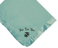 MILITARY MARINE CUSTOM EMBROIDERED FLEECE PINK OR BLUE OR WHITE BABY BLANKET