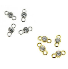 Sterling SILVER Clear CZ Crystal LINK CONNECTOR BEAD  8.5mm x 4mm